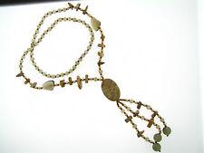 Vintage Smoky Quartz & Jasper Bronze Glass Seed Bead Multi Tassel Drop Necklace