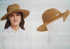 New John Lewis Crochet Straw Packable Hat