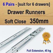 6 pairs soft close ball bearing drawer runners / Slides Kitchen Vanity - 350mm