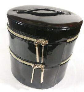 ✰Lancôme Round Black Cosmetic Makeup Bag TRAIN CASE Loaded w/ Cosmetics!- Glossy