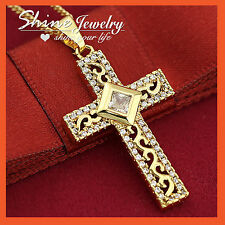 18K GOLD FILLED P07 CROSS CRUCIFIX MENS LADY DIAMOND SOLID PENDANT NECKLACE GIFT