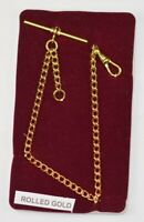 QUALITY ROLLED GOLD single albert chain pocketwatch chain fob watch T bar NEW