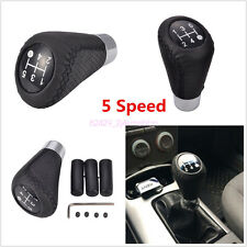 Black 5 Speed Line Leather Aluminum Manual Car Gear Shift Knob Shifter Lever Set