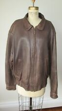 Aeropostale Vintage Leather Bomber Jacket Brown Aviator Size 46 XL