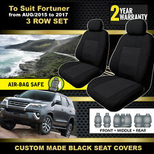 Custom BLACK Seat Covers 3 ROWs for Toyota Fortuner GX GXL Crusade 8/2015-2018
