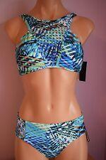 NWT Kenneth Cole Swimsuit Bikini 2pc Set Bra CYN Blue Sz S M