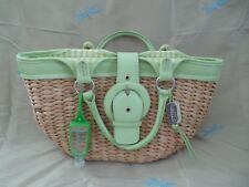 Maggi B hand bag leather/Woven Straw Green/Beige,green gingham lined,medium.