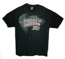 Harley Davidson Mens Large T-Shirt 110th Anniversary Eagle Bravado 2013 Black