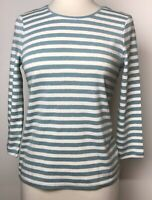 Charter Club Women's Top Blue White Gold Stripes Size Pet/Med NWT