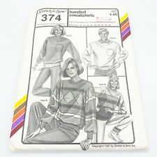 Stretch & Sew Vintage Sewing Pattern #374 Banded Sweatshirts Bust Sizes 30-46