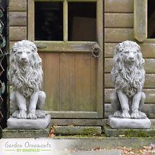 LARGE LION PAIR Cast Stone Garden Ornament Statue Patio Home Decor ⧫onefold-uk