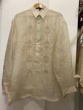 Onesimus Mens Raw Silk Barong Embroidered Shirt XXL