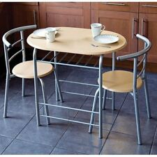 3pc Dining Set 2 Chairs & Table Metal Frame Wooden Seat Beech Furniture Compact