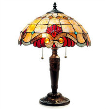 """Tiffany Style Stained Glass Vivaldi 2 Light Table Lamp 15"""" Shade Handcrafted"""