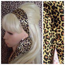Neuf Léopard Animal Imprimé Satin Tissu Cheveux Foulard Bandeau Self Tie Bow 60 S Rétro