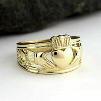 Solid 14k Yellow Gold Finish Men's Claddagh Wedding Band Ring size 7,8,9,10,11,