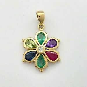 Ladies Pendant 9ct (375, 9K) Yellow Gold Coloured Stone Flower Pendant