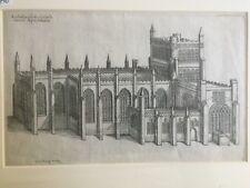 1655 Antique Print;  Rare View; Bristol Cathedral; Dugdale Monasticon Anglicanum