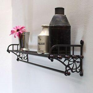 Bronze Train Rack Shelf and Towel Bar for Bathroom Antique Vintage Replica