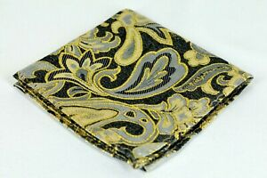 Lord R Colton Masterworks Bombay Onyx & Gold Floral Silk Pocket Square - $75 New