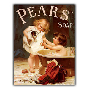 METAL SIGN WALL PLAQUE PEARS SOAP Puppy Dog Vintage Retro BATHROOM Toilet print