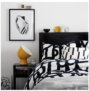 IKEA SKUGGBRÄCKA Quilt Cover & pillowcases, White/Black in 3 sizes