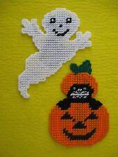 2 Halloween Magnets Flying Ghost & Cat In Pumpkin Plastic Canvas Handmade