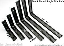 """BLACK Coated Galvanised 1"""" Fluted Heavy Duty Shelf Brackets 7 sizes available."""