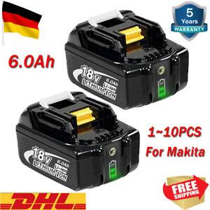 2X 6AH Für Original Ersatzakku Makita BL1860 18V LXT Li-ion BL1830 BL1850 BL1840