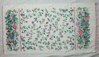 Waverly Floral Bath Towel Pink Trim Blue Green Vine Ivy Cotton 25 x 48