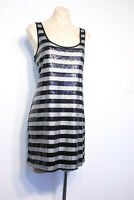 DOTTI Sequins Silver Black Stripe Stretch Party Dress Size L 14 RRP $99 BNWT