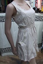 YOU Delightful Short Beige Dress with Large Pockets & Gold Studs S/M 8-10