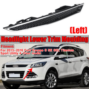 Left Driver Side Chrome Headlight Lower Trim Moulding For Ford Escape 2013-2016