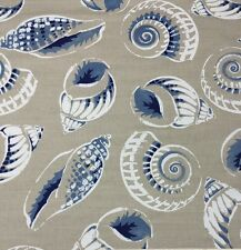 "MANUEL CANOVAS NAUTILUS CEYLAN BLUE SEASHELL EXCLUSIVE FRENCH FABRIC 1 YARD 54""W"