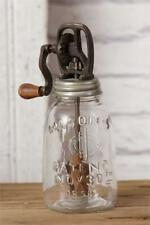 New Primitive Antique Style Vintage BUTTER CHURN Mason Jar Crank Lid