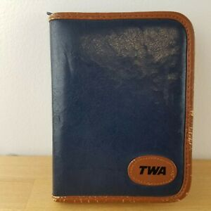 Vintage 1989 TWA First Class Zip Business Portfolio- Sleep Mask- Calculator-Pen