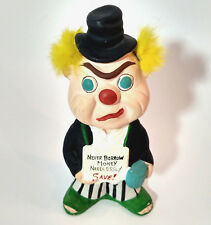 """Vintage Chalkware LeGo JAPAN Coin Bank Clown Hobo incl Stopper 50s 60s 7"""" tall"""