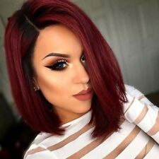 Synthetic Ombre red Bob hair Dark Roots Short Straight Side Part Wig for Ladys