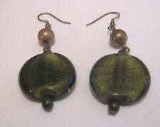 green glass disc bead 4½ cm long Great bronze tone metal dangle style earrings