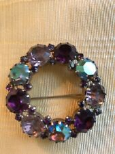 KARU Arke Inc Vintage Brooch - Purple, Pink, Green Pastels Circle Pin