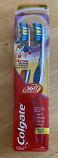 COLGATE 360 ADVANCED ~ 4 Zone Toothbrush Value ~ Soft Bristles 2-Pack