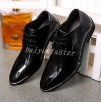 Stylish Men Patent Leather Pointy Toe Wedding Shoes British Lace Up Formal Dress