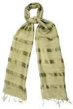 Dried Herb Green Silk and Linen Stripe Scarf - Fair Trade BNWT 180cm x 80cm