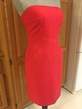Ann Taylor Red Strapless Business Party Wedding Dress w/ Pockets Size 6 ADORABLE