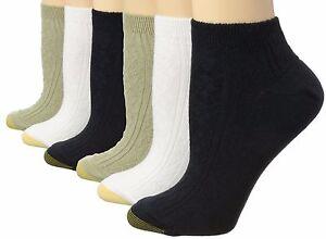 6 Pairs Women's Gold Toe Soft Argyle Texture Lowcut Ankle Socks Black White 9-11