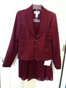 NWT Bloomingdale's Women's Wool Suit Burgundy Wine Blazer Skirt Size 8P Petites