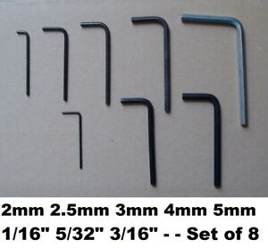 "8 Allen Hex Keys 2mm 2.5mm 3mm 4mm 5mm 1/16"" 5/32"" 3/16"" Hexagonal Job Lot Set"