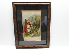 VINTAGE CURLY OAK FRAME 13x10 LITTLE RED RIDING HOOD PRINT (matted)
