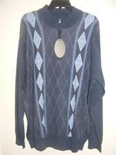 New Men's $79 GREG NORMAN blue argyle zip neck soft wool blend golf sweater XL