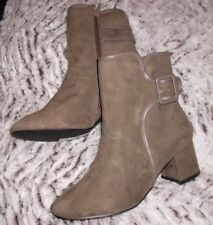 NEW TAG EVANS TAUPE BUCKLE  STANDARD FIT ANKLE BOOTS SIZE 5